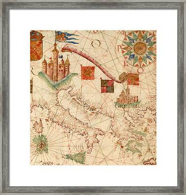 Antique Maps - Old Cartographic Maps - Antique Map Of The Mediterranean Area - Italy, Greece Framed Print
