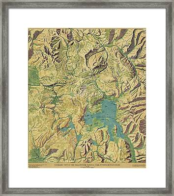Antique Maps - Old Cartographic Maps - Antique Panoramic View Map Of The Yellowstone National Park Framed Print