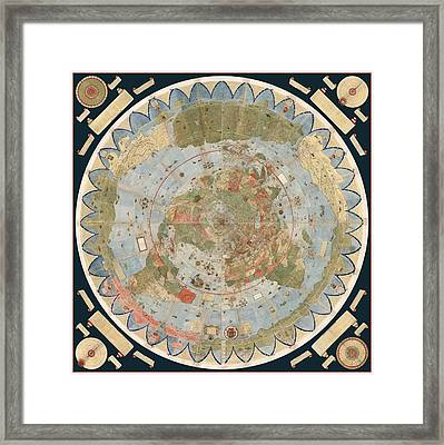Antique Maps - Old Cartographic Maps - Flat Earth Map - Map Of The World Framed Print