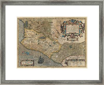 Antique Maps - Old Cartographic Maps - Hondius And Mercator Map Of Mexico, 1606 Framed Print