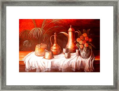 Antique Moroccan Pots Still Life Framed Print by Patricia Rachidi