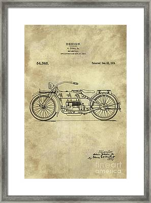 Antique Motorcycle Blueprint Patent Drawing Plan From 1919, Industrial Farmhouse Framed Print by Tina Lavoie