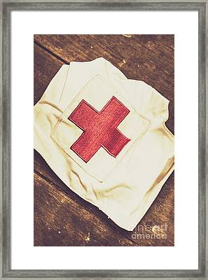 Antique Nurses Hat With Red Cross Emblem Framed Print