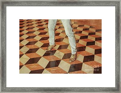 Framed Print featuring the photograph Antique Optical Illusion Floor Tiles by Patricia Hofmeester