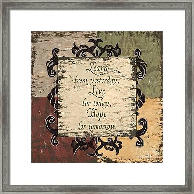 Antique Patchwork Inspirational Framed Print