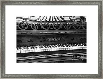 Antique Piano Black And White Framed Print