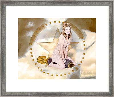 Antique Pin-up Girl On Missile. Bombshell Blond Framed Print by Jorgo Photography - Wall Art Gallery