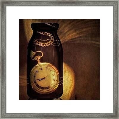 Antique Pocket Watch In A Bottle Framed Print by Susan Candelario