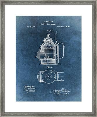 Antique Police Lantern Illustration Framed Print