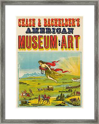 Antique Poster Chase And Bachelder's American Museum Of Art 1875 Framed Print