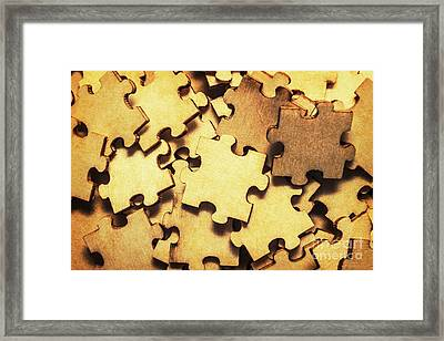 Antique Puzzle Of Missing Links Framed Print