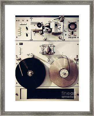 Antique Recording Machine With Film Tapes Framed Print