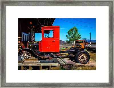 Antique Red Truck Framed Print by Garry Gay