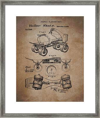 Antique Roller Skates Patent Framed Print