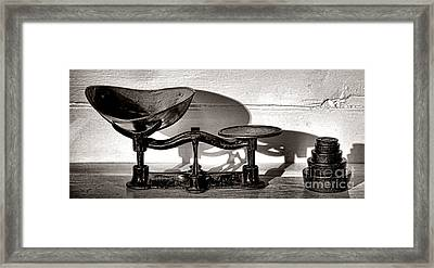 Antique Scale And Weights Framed Print by Olivier Le Queinec