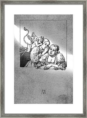 Antique Souvenir - Gossip Framed Print by Attila Meszlenyi