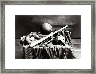 Framed Print featuring the photograph Antique Sports Equipment - American Athletics by Mark Tisdale