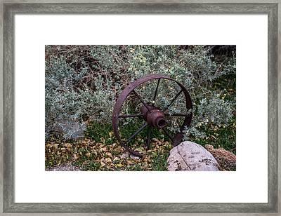 Antique Steel Wagon Wheel Framed Print by Paul Freidlund