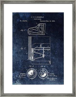 Antique Steinway Piano Frame Patent Framed Print by Dan Sproul