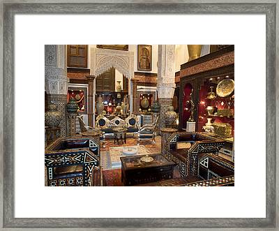 Antique Store In The Souk, Fes, Morocco Framed Print