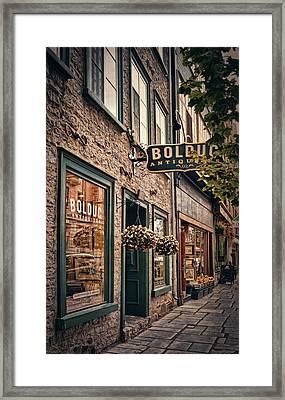 Antique Store - Rue Saint- Paul - Quebec City Framed Print by Maria Angelica Maira