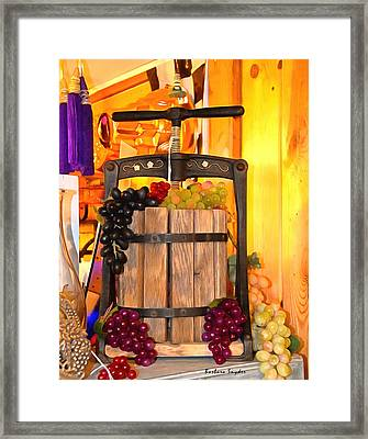 Antique Store Wine Press 2 Framed Print by Barbara Snyder