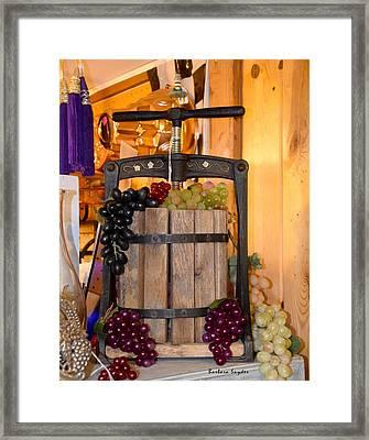 Antique Store Wine Press Framed Print by Barbara Snyder