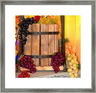 Antique Store Wine Press Small Framed Print by Barbara Snyder