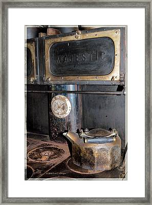 Antique Stove And Kettle Framed Print by Kae Cheatham