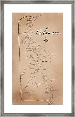 Antique Styled Map Of Delaware Framed Print by Antique Cartography