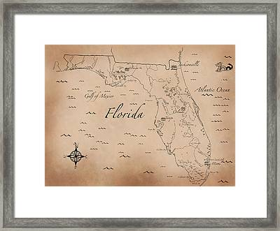Antique Styled Map Of Florida Framed Print by Antique Cartography
