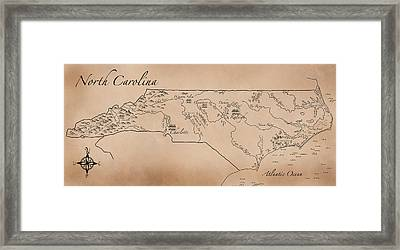 Antique Styled Map Of North Carolina Framed Print by Antique Cartography