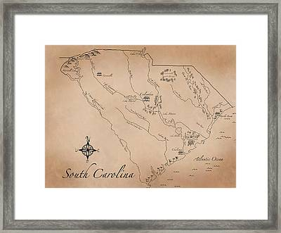 Antique Styled Map Of South Carolina Framed Print by Antique Cartography