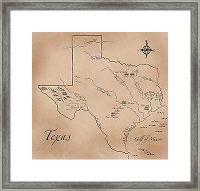 Antique Styled Map Of Texas Framed Print by Antique Cartography