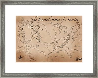 Antique Styled Map Of The U.s. Framed Print by Antique Cartography