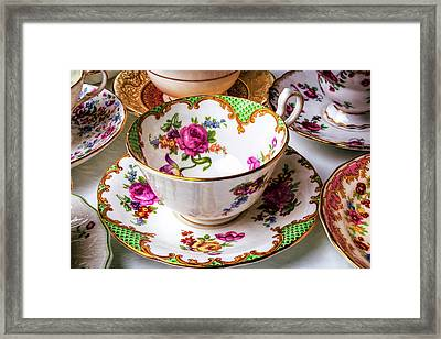 Antique Tea Cups Framed Print