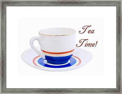 Antique Teacup From Japan With Tea Time Invitation Framed Print