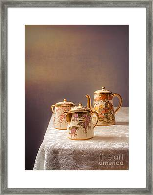 Antique Teaset Framed Print by Amanda Elwell