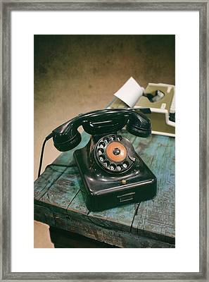 Antique Telephone And Typewriter Framed Print by Carlos Caetano
