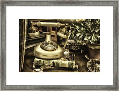 Antique Telephone Framed Print by Thomas Woolworth