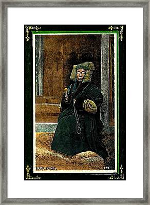 Framed Print featuring the painting Antique Tibetan Lama by Peter Gumaer Ogden