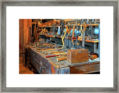 Antique Tool Bench Framed Print