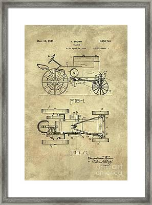 Antique Tractor Blueprint Patent Drawing Plan From 1929, Industrial Farmhouse Framed Print by Tina Lavoie