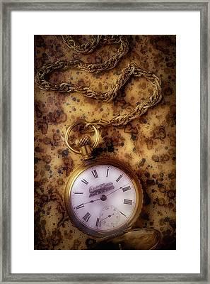 Antique Train Pocket Watch Framed Print by Garry Gay