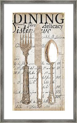 Antique Utensils For Kitchen And Dining In White Framed Print by Grace Pullen