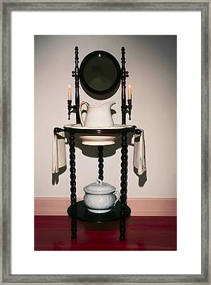 Antique Wash Stand Framed Print by Sally Weigand