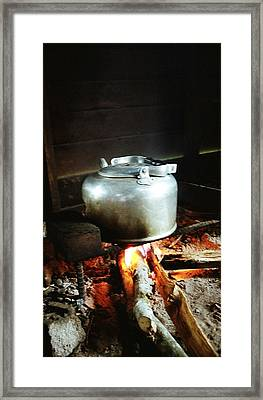 Antique Water Kettle On A Fire In Malaysia Framed Print by Gosta Eger