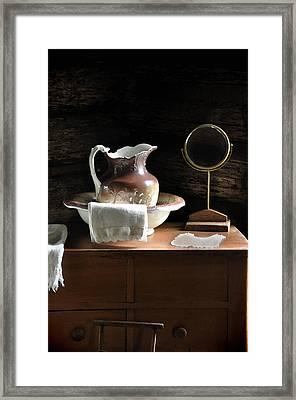Antique Water Pitcher On Bureau Framed Print by Rebecca Brittain