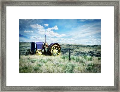 Antique Western Tractor Framed Print by Thomas Woolworth
