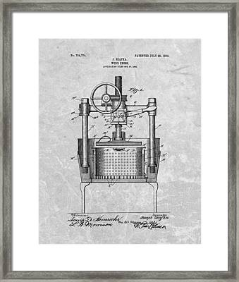Antique Wine Press Patent Framed Print